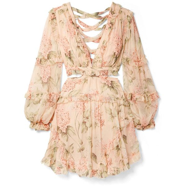 Zimmermann Prima cutout ruffled floral-print silk-georgette mini dress ($995) ❤ liked on Polyvore featuring dresses, vestidos, peach, long-sleeve mini dresses, laced dress, mini dress, side cut out dress and side cutout dresses