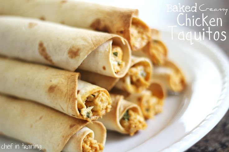 Baked Creamy Chicken Taquitos!  They are so easy to make and taste amazing! This recipe is easy and I had most of the ingredients on hand! Definitely a keeper :)