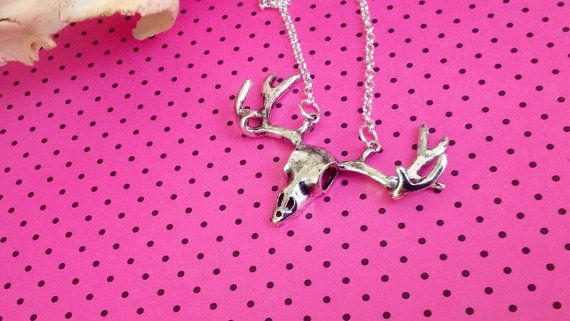 Stag Skull Necklace ~ Alternative Bridal Jewellery ~ Unique Birthday Gift ~ Unusual Gifts For Her ~ Woodland Wedding Accessories ~ Gift Idea