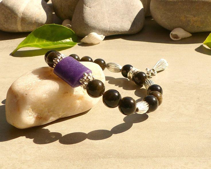 Bracelet en obsidienne dorée et jade violet, bracelet en perles d'obsidienne et jade, bracelet de protection en pierres gemmes : Bracelet par lapassiondisabelle