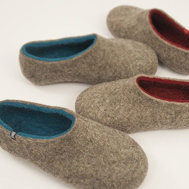 Dual Natural shades for him and for her. #Felted #wool #slippers found at wooppers.com