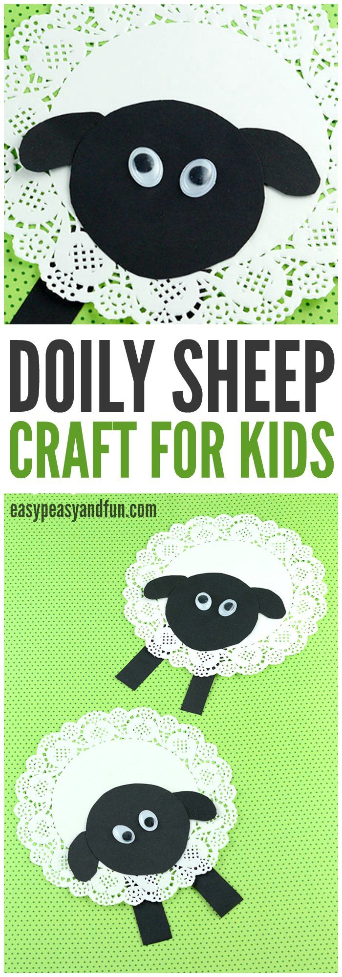 This would be a cute sensory craft with cotton glued onto center of doily - Use black felt for face, ears, legs