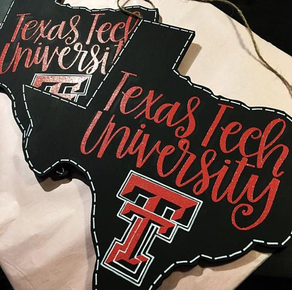 "A 12x12 black wooden Texas cutout with red sparkle embossing reading, ""Texas Tech University"" and the Texas Tech logo below. I can also write ""Wreck Em Tech"" on the cutout if requested! The sign comes ready to hang with a twine string attached."
