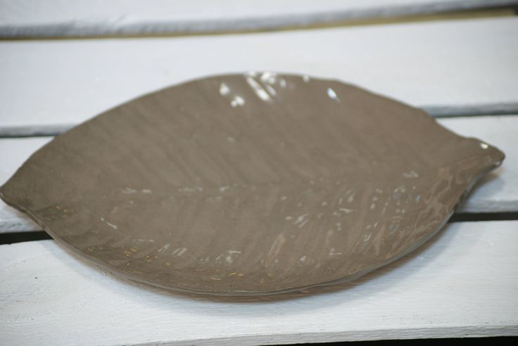 leaf plate, brown plate, ceramic leaf pleate by dsceramika on Etsy