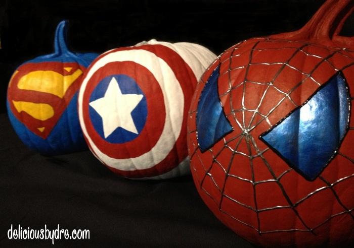 superhero painted pumpkins!!