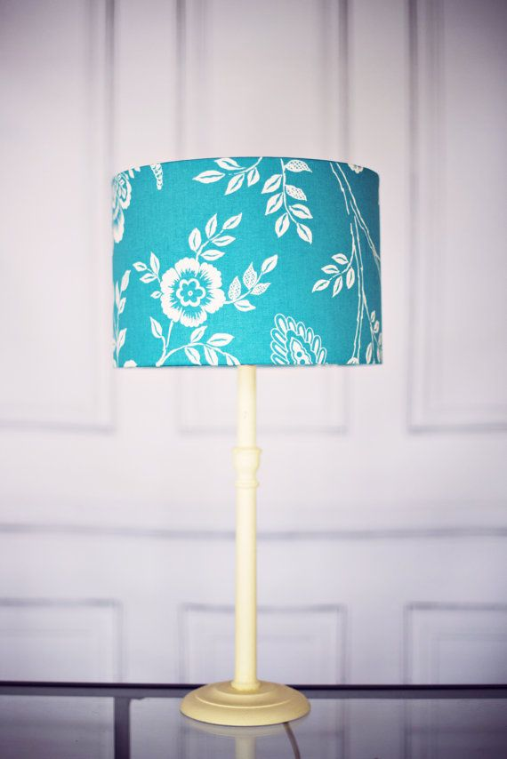 Lampshade blue lampshade floral lamp shade by ShadowbrightLamps