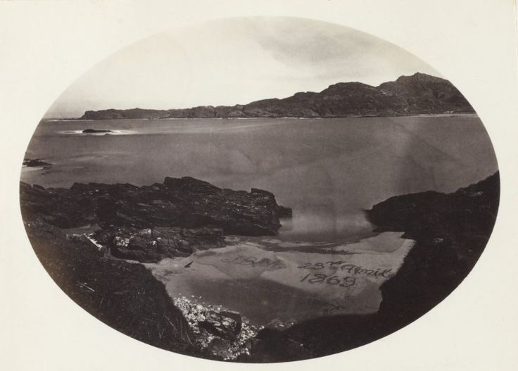 Elevated View of coastal beach with text enscribed into the sand, probably Kiloran Bay, Colonsay, Argyll.   The text in the sand reads, 'J.B.M. 23rd April 1869.'  The image has been given the title '129'.  PHOTOGRAPH ALBUM No. 187, (cf PAs 186 and 188) Rev. J.B. MacKenzie of Colonsay Albums,1870, vol.2.