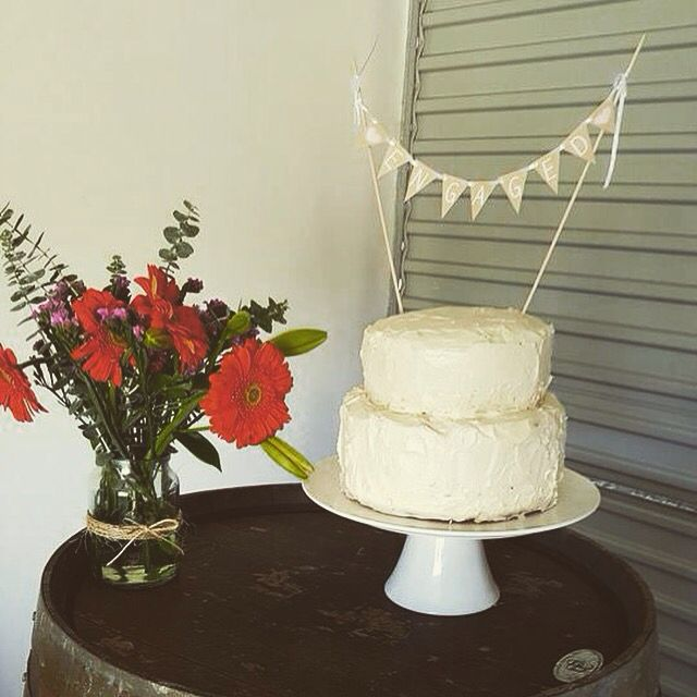 Carly's engagement cake - Rustic white chocolate mud cake with vanilla frosting