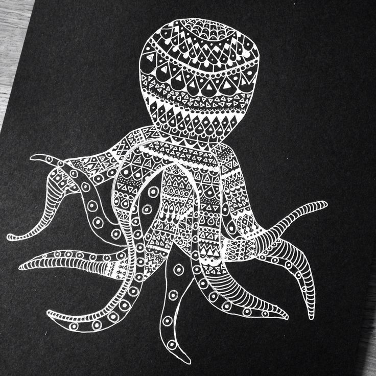 White ink octopus  Ink Fineliner Art Illustration