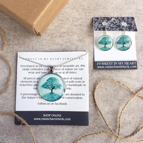 Pendant and Earrings Gift Box - The Secret Life of Trees, Turquoise