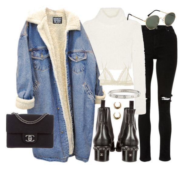 """""""Untitled #21943"""" by florencia95 ❤ liked on Polyvore featuring Roberto Cavalli, Chanel, H&M, Eberjey, Cartier and LowLuv"""