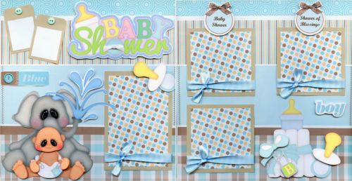 BABY-SHOWER-BOY-2-Premade-Scrapbook-Pages-paper-piecing-layout-4-album-CHERRY