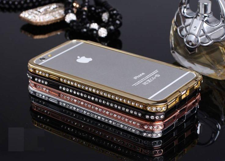 Apple Iphone 6 Plus exclusieve metalen bumper met strass blingbling, diverse kleuren