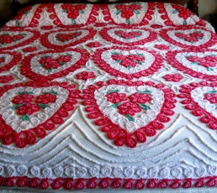 Valentine hearts Chenille bedspread Vintage Bedroom