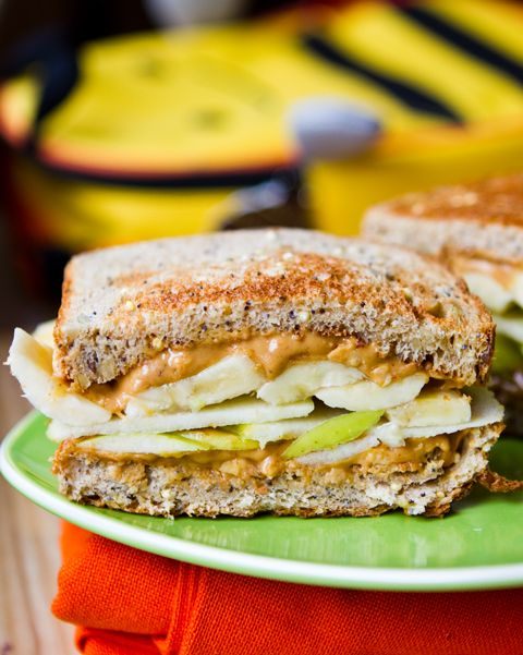 Fruit Stack Sandwich-- Thinly sliced apples and bananas -chunky peanut butter-A drizzle of maple syrup and cinnamon