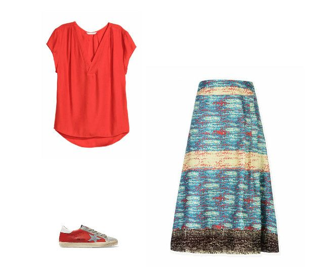 Casual Monday: H&M top, Kisua for 8 skirt, Golden Goose Deluxe Brand sneakers
