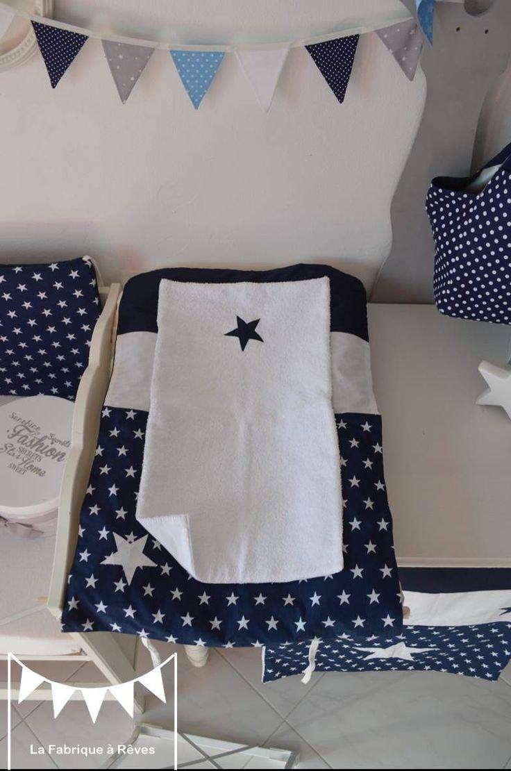 Dispo - Housse matelas à langer et serviette éponge - étoiles bleu marine blanc : Puériculture par la-fabrique-a-reves