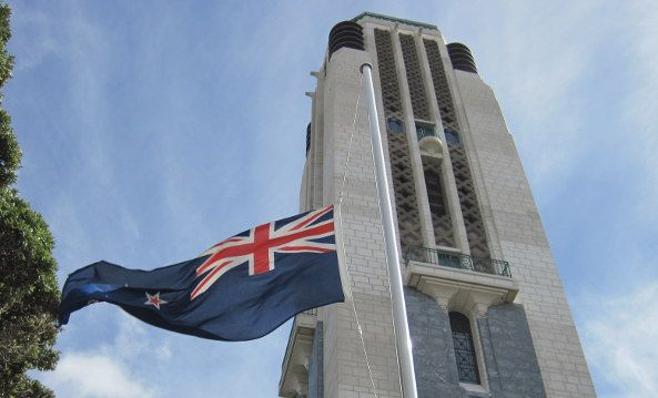 """Flag in front of the National Carillon, Pukeahu National War Memorial Park. Rosebank School teacher Marcia Karaitiana, from Balclutha, says previous Memorial Park field trips helped engage some reluctant learners.    """"Through Memorial Park in particular because it is not only history but it takes on the past, present and future, it got them through that sense of story,"""" she says. Read more."""