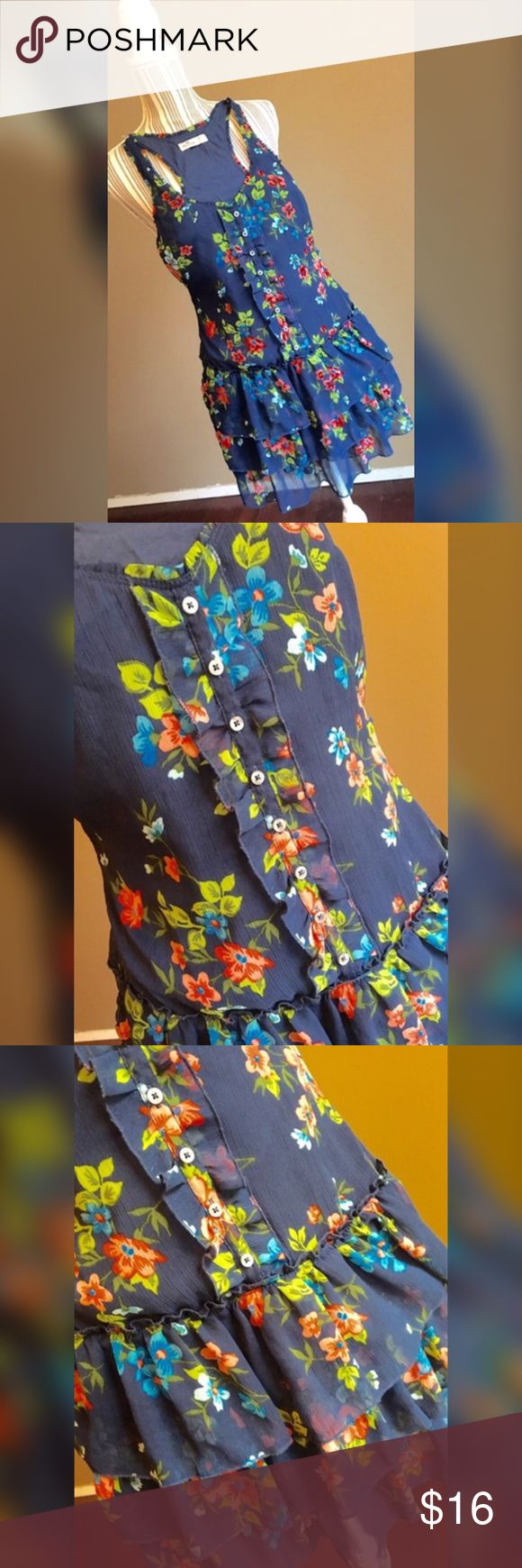 """Hollister Dress Floral Racer Back Dress w/Ruffles by Hollister. Size XS. It was too small for my mannequin! Bust 32"""". Waist 30"""". Shoulder to hem length 31"""". Hollister Dresses"""