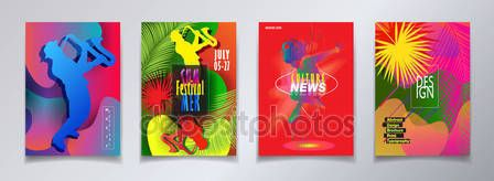 Jazz Pop Electronic Music Summer Festival 2018 music, jazz, pop, disco, dance, club, Holiday colorful modern poster, flyer, brochure cover layout vector set. Abstract composition with saxophone player. geometric dynamic shapes modern design template.– stock illustration