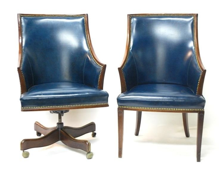 Navy Leather Desk Chair