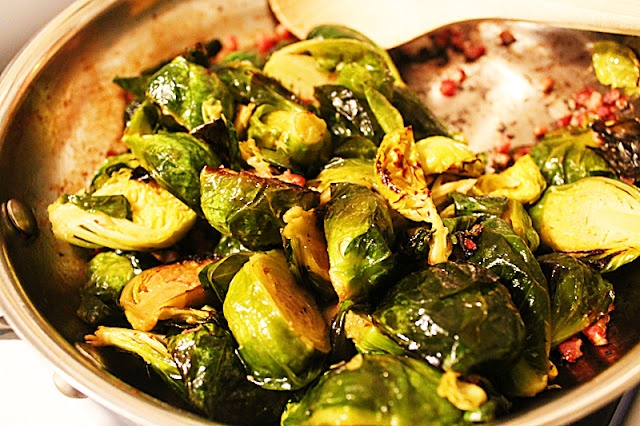 maple roasted brussels sprouts with crisped pancetta