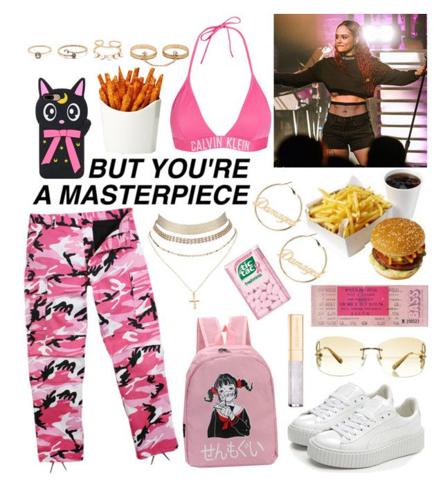 """Kehlani concert🌻💫"" by raven-so-cute ❤ liked on Polyvore featuring Calvin Klein, Louis Vuitton, Charlotte Russe, Puma, LULUS and Dolce&Gabbana"