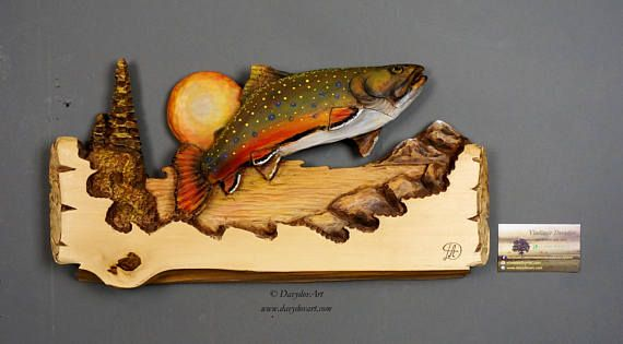 Trout Wood Carving,Brook Trout,Fish carved,Fishing Gift by Davydovart, Gift for Fisherman Wooden Sculpture Wall Art OOAK Carving Deco Rustic  Dimensions: 16,5 X 9,5X 1 1/4 (41cm X 24cm X 3cm)  FREE SHIPPING TO CANADA AND UNITED STATES  The sculpture in the listing photo, is the same unique sculpture that you will receive  Like all my carvings, it is a unique piece, made entirely by hand with the chisels and wooden knives, carved on a linden wood. I specifically use only dried wood for my...