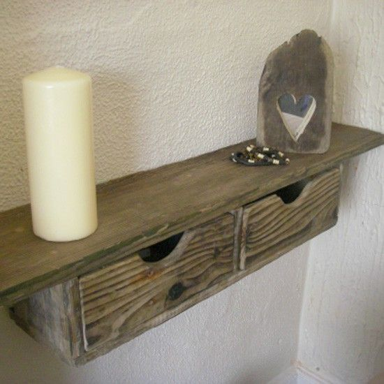 Rustic floating drawer shelf from Driftwood Interiors. Totally digging this!