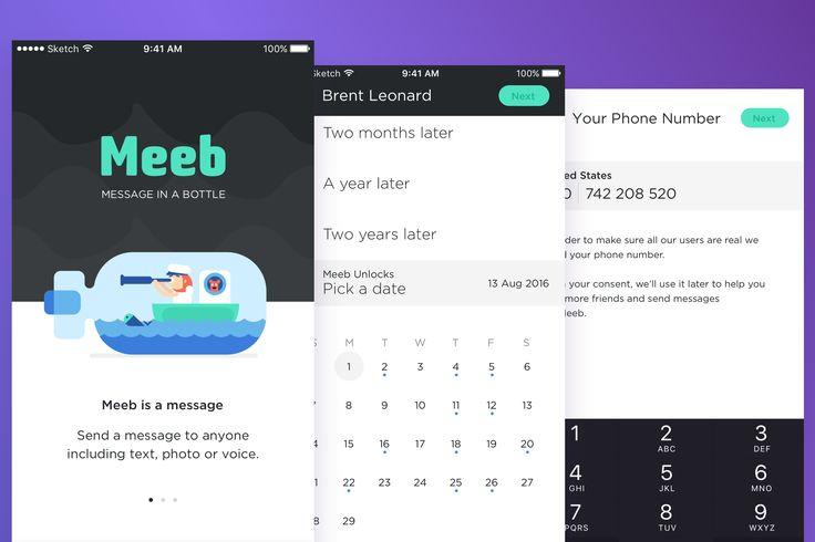 Meeb – Message In Bottle App UI KIT : Cerpow