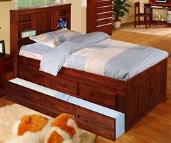 Acadia Merlot Twin Bookcase Captains Trundle Bed Bed