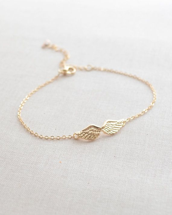 Angel wing bracelet gold bracelet