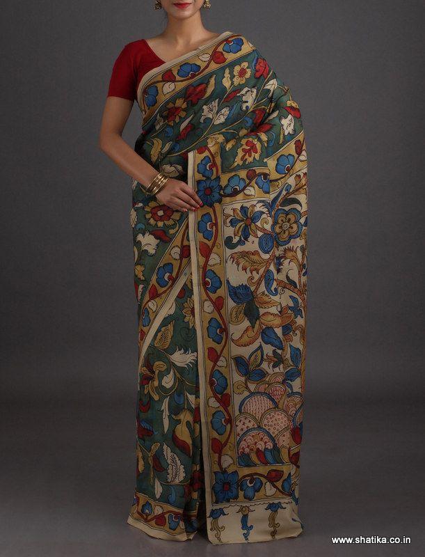 Roshini Full Bloom Elite Naturally Dyed Hand-Painted #KalamkariPureSilkSaree