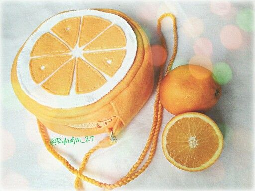 Orange fruit bag felt