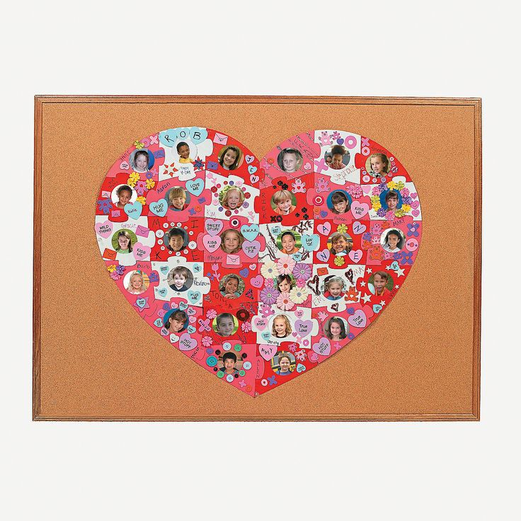 Design Your Own Giant Heart-Shaped Photo Bulletin Board Puzzle - OrientalTrading.com  Great for making a special Valentine's Day present to teacher from students