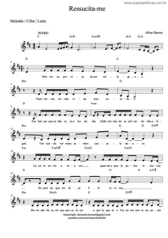 Pagina Que Contem A Partitura Da Musica Ressucita Me Aline Barros