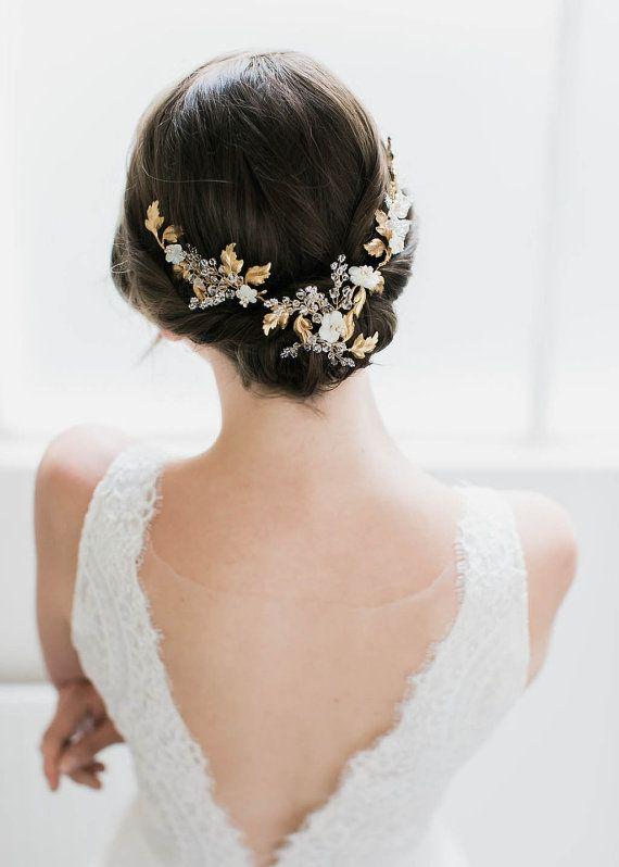 AMOURETTE   gold wedding headpiece with crystals,…Edit description