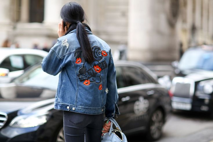 Add patches or embroidery to your jacket for a party in the back. #refinery29 http://www.refinery29.com/2015/02/82710/london-fashion-week-2015-street-style#slide-13