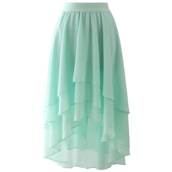 Macaron Mint Asymmetric Waterfall Hi-Low Skirt | spinach & other cool... ❤ liked on Polyvore featuring skirts, green skirt, mint green high low skirt, waterfall skirt, asymmetrical high low skirt and short front long back skirt