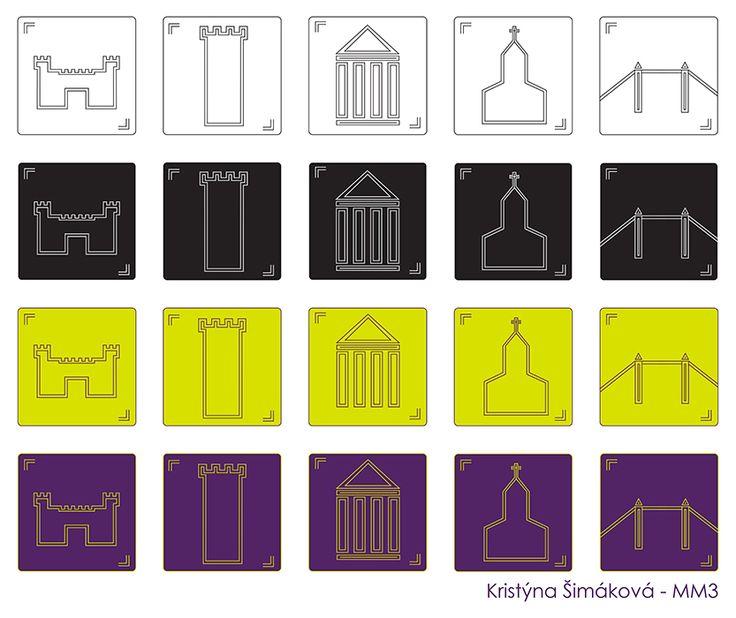 Série pěti piktogramů, které jednotnou sadu turistických značek památek či významných staveb varianty: čb, inverzní čb (negativ), barevná, inverzní v barvě. září 2015