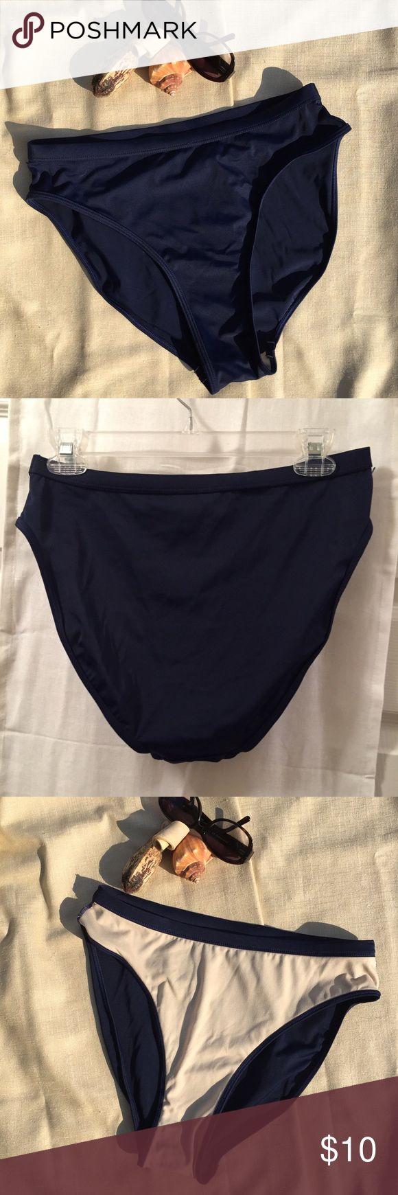 Islander brand Navy blue high-cut bikini bottom 12 Navy bikini bottom with full coverage for behind. Easy to color match. Tried on, never used. UPC: 6 6398100420, SEAS: 3005 Islander Swim Bikinis