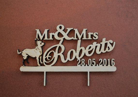rustic wedding cake topper / dog wedding cake by WoodYourDay