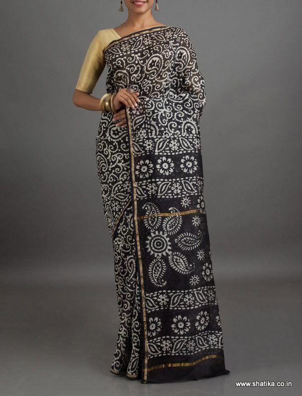 Karuna Black and White Paisleys #BatikPrintSaree