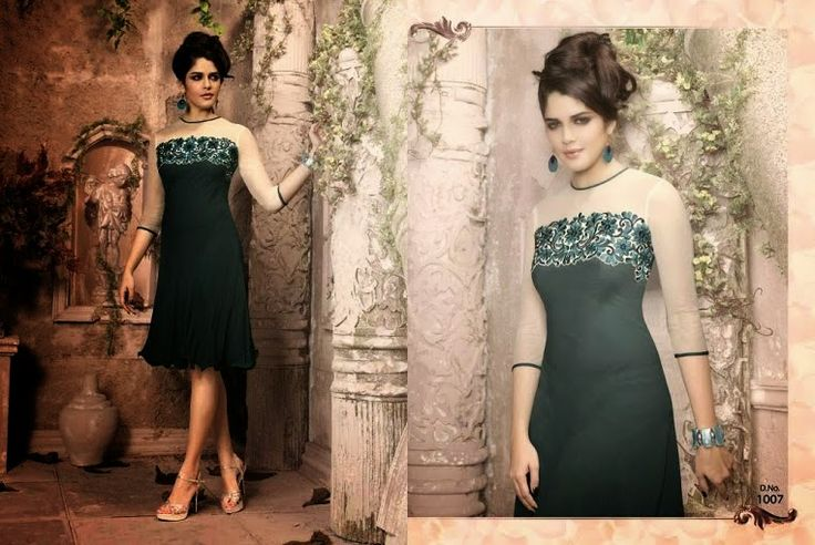 Superb Designer Ready to Wear Georgette Kurti with linning  in Olive Green color with beautiful Thread Embroidery .  Available in S,M,L, XL size.