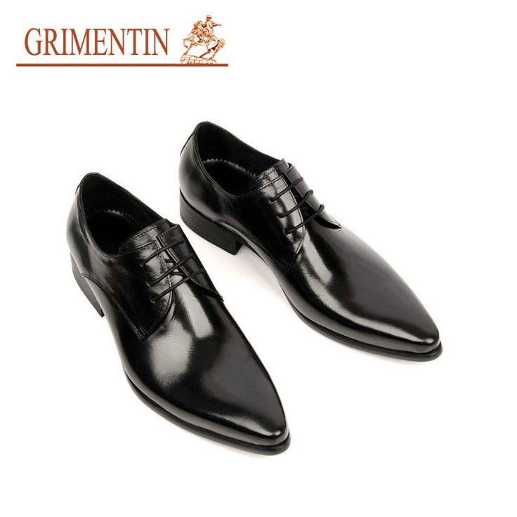 GRIMENTIN Fashion Italian designer formal mens dress shoes genuine leather black luxury wedding shoes men flats office for male