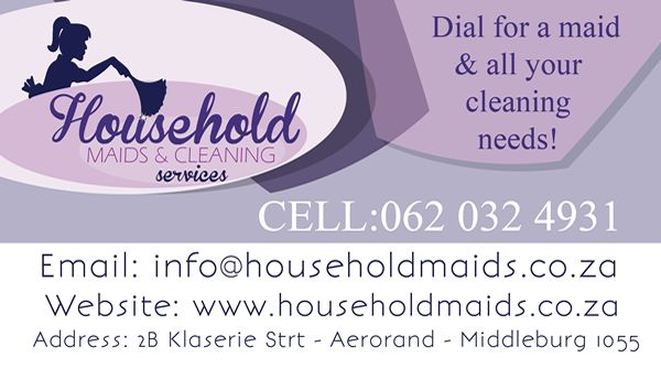 BUSINESS CARD DESIGN >> Household Maids and Cleaning Services (Middelburg / Witbank) created by Design so Fine