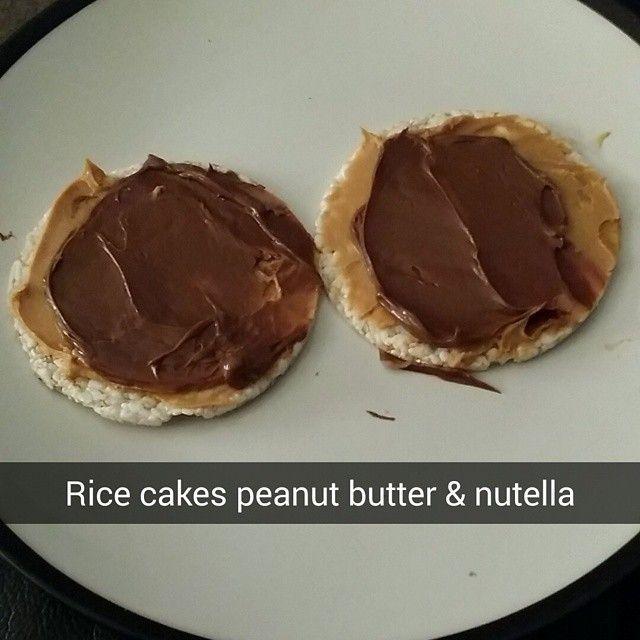 #snacks #healthy #ricecakes #peanutbutter #nutella