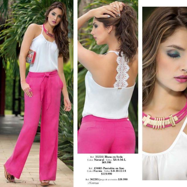Ref. 454615 Blusa en crepe Color: Fucsia · Tallas: S-M-L-XL · $99.990 Ref. 434202 Pantalón en lino Color: Turquesa · Ta...