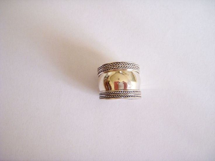 Plain silver wide ring hippy chic modern