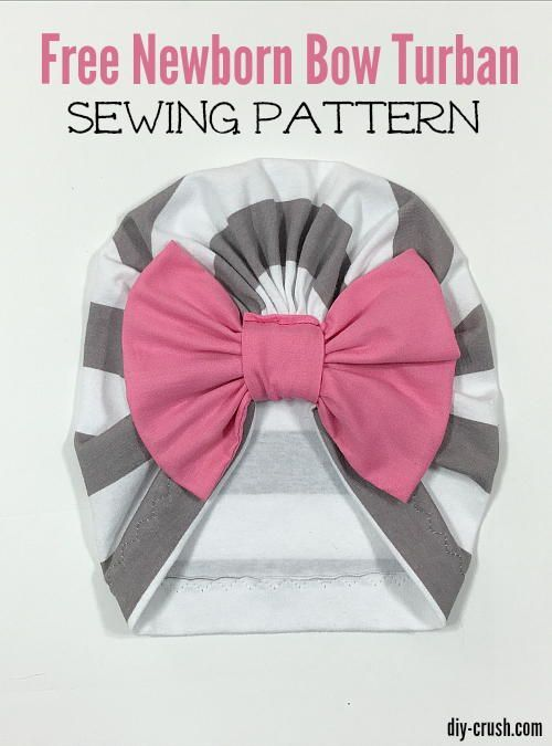 """""""Sew this adorable bow turban beanie for newborns. This perfectly fitting hat is made from soft knit fabric. The bow sits in a casing which is sewn on."""""""